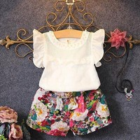 Petal Sleeve Baby Girl Summer Set