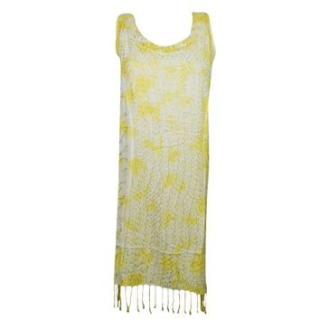 Mogul Womens Boho Dress Embroidered Yellow Tie Dye Tassel Hemline Sleeveless Bohemian Fashion Shift Dresses - Walmart.com