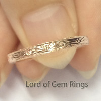 Filigree Art Deco Antique MILGRAIN Wedding Band Anniversary Ring 14K Rose Gold
