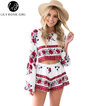 Boho Floral Print Open Back Flared Sleeve Two Piece Romper