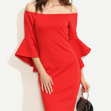 Red Bell Sleeves Off Shoulder Bodycon Dress