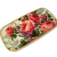 Vintage Keswick Fiberglass Tray Rectangular Roses Made in England