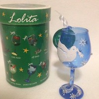 Lolita Mini Wine Glass Peace On Earth Ornament