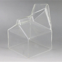 Cool and Stylsih Transparent Milk Box Glass Cup (Transparent)
