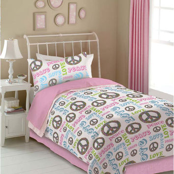 Veratex Indoor Bedroom Decorative Bedding Accessories Peace And Love Comforter Set Queen Pink/White