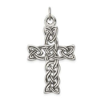 925 Sterling Silver Antiqued Celtic Cross Shaped Pendant