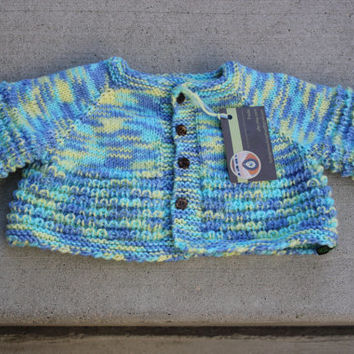 Handmade Knit Super wash merino soft baby cardigan sweater/Hand knit baby sweater /baby cardigan / hand knitted baby clothing / baby sweater