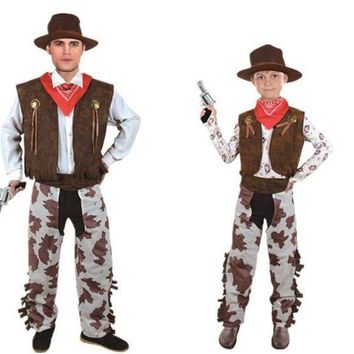 DCCKH6B Children Adults West Cowboy Cosplay Costume Boys Girls Men Halloween costume