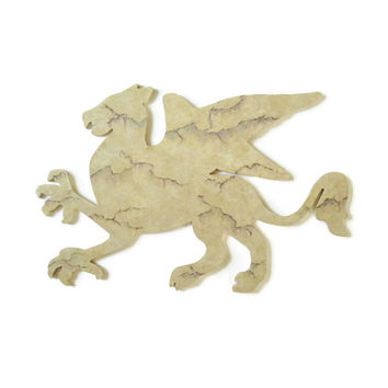 Griffin Wall hanging in tan marble faux finish, renaissance decor, fantasy wall art
