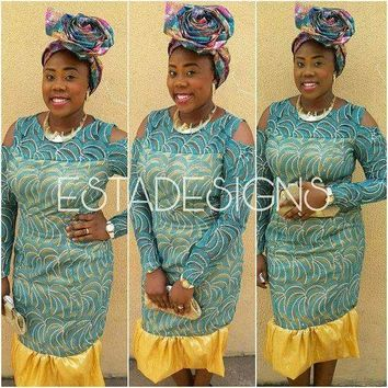 Green and Gold Peplum Lace Dress, African