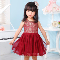 2015 Summer Girl Vest Sequins Tulle Tutu Dress kid Sleeveless Princess Dress Children Holiday Party Dress Sundress Pageant Dresses.