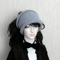 Dreadlock tube Hat  headband  head wrap in Grey Hunky Headband  Knit Cowl