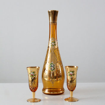 mid-century decanter set, Italian hand-painted decanter and glasses