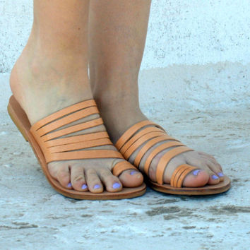 Greek sandals, metallic sandals, womens sandals toe sandals