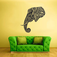 Wall Vinyl Sticker Decals Decor Art Bedroom Design Mural Ganesh Om Elephant Tattoo Head Mandala Tribal (z2365)