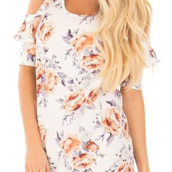 White Floral Print Cut Out Off-shoulder Ruffle Oversize Sweet T-Shirt