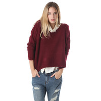 Marsala knit crop sweater with V neck