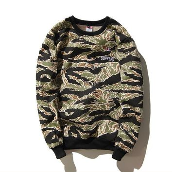 SUPREME hip-hop skateboards men and women military wind embroidery tiger pattern camouflage thickening plus velvet head lovers sweater tide