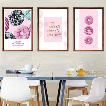 Color Kawaii Sweet Food Doughnut Posters Prints Grils Kids Room Wall Art Pictures Cafe Kitchen Home Decor Canvas Paintings