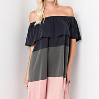 Davina Off Shoulder Color Block Dress