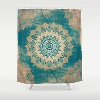 GOLD BOHOCHIC MANDALA IN GREENS Shower Curtain by Nika | Society6