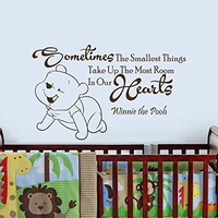 Wall Decals Quotes Vinyl Sticker Decal Quote Winnie the Pooh Sometimes The Smallest Things Take Up The Most Room Nursery Baby Room Kids Boys Girls Home Decor Bedroom Art Design Interior NS808