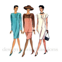 1990s Tapered Pullover DRESS TUNIC & SKIRT Button Trim Yoke Cap Long Sleeves Vogue 7962 Bust 36 38 40 UnCUT Women's Vintage Sewing Patterns