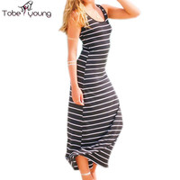 Sexy Women Classic Strips Bodycon A line Beach Casual Summer Tank Vest Maxi Long Dress Sundress Party Dresses