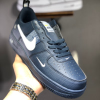 HCXX N1452 Nike Air Force 1 Floral Low Leather Sports Skate Shoes Blue