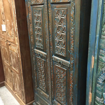Indian Furniture Wardrobe Cabinet Armoire Blue Patina Hand Carved Furniture