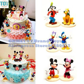 New 6pcs Mickey Mouse Clubhouse Minnie Goofy Figures Playsets Toys Cake Topper Mini Action Figures Anime Brinquedos with Stand