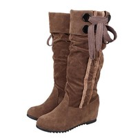 Strappy Suede Lace Up Hidden Heel Thigh High Boots
