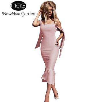 NewAsia Garden Vintage Midi Dress Bow Tie Straps Trumpet Mermaid Summer Dress Slim Party Dress Bodycon Dresses Vestido Midi