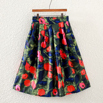 Vintage Little Flower Print Pleated Midi Skirt