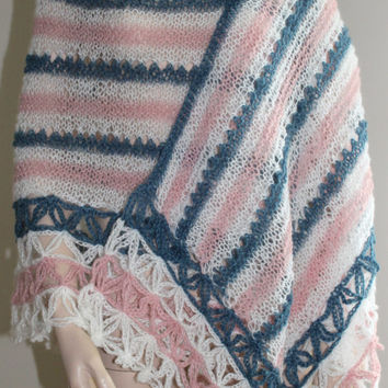 Hand Knitting and Hand Crocheted Pink White and Blue Angora Shawl / Wedding Shawl / Poncho Sawl / Gift for Mothers Day
