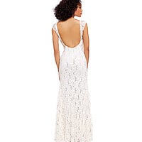 B. Darlin Cap-Sleeve Illusion Lace Gown | Dillards.com