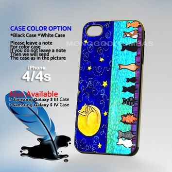 Cat Moon, Photo On Hard Plastic iPhone 4 4S Case