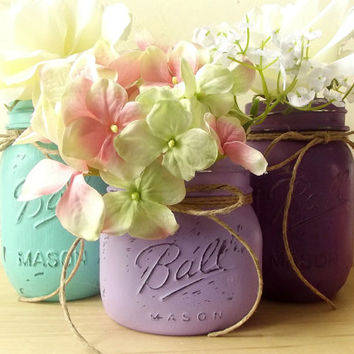 Rustic, Painted Mason Jars, Set of 3 Mason Jars, Purple, Lilac and Aqua colored Jars