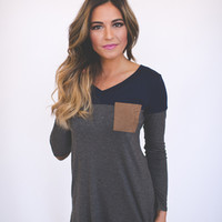 Color Block Tunic- Navy/Charcoal