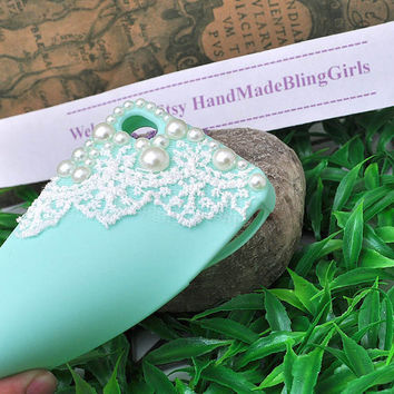 Free Shipping white lace  bling pearl green soft silicone   iphone 4 / 4s case or case for iphone 5