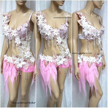 Pearl Pink White Fairy Monokini Cosplay Dance Costume Rave Bra Halloween Burlesque Show Girl