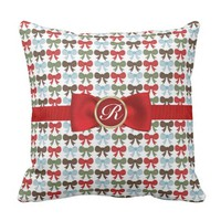 Cute Red, Green, Blue Bow Pattern and Monogrammed Throw Pillow