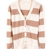 Cotton Khaki Long Sleeve V-Neck Single-Breasted Striped Hollow Cardigan  style zl826006-Khaki in  Indressme