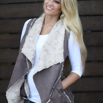 Brown Faux Fur Vest With Pockets