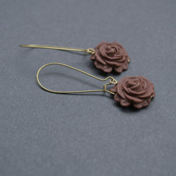 Polymer Clay Rose Earrings. Brown Flower Earrings. Long, Dangle, Antique Brass. Brown Jewelry. Flower Jewelry
