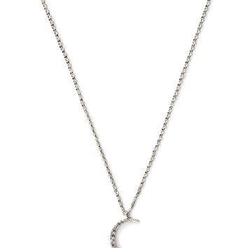 Rhinestone Half Moon Necklace