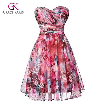 Short Prom Dresses Grace Karin Chiffon Sweetheart Floral Print 2017 Empire Waist Knee Length Pattern beautiful prom gown