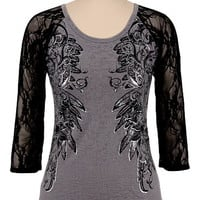 Maurices Premium Lace Sleeve Embellished Burnout Top