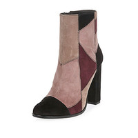 Pink suede patchwork block heel boots - ankle boots - shoes / boots - women