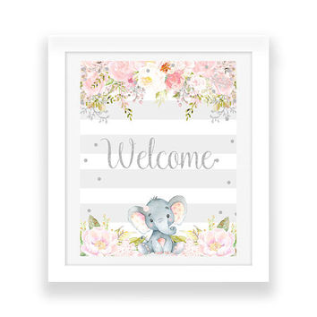 Pink and Gray Baby Shower Welcome Sign - Custom Baby Shower Sign - Floral Baby Shower Printables - Elephant Party Decor - Baby Decorations
